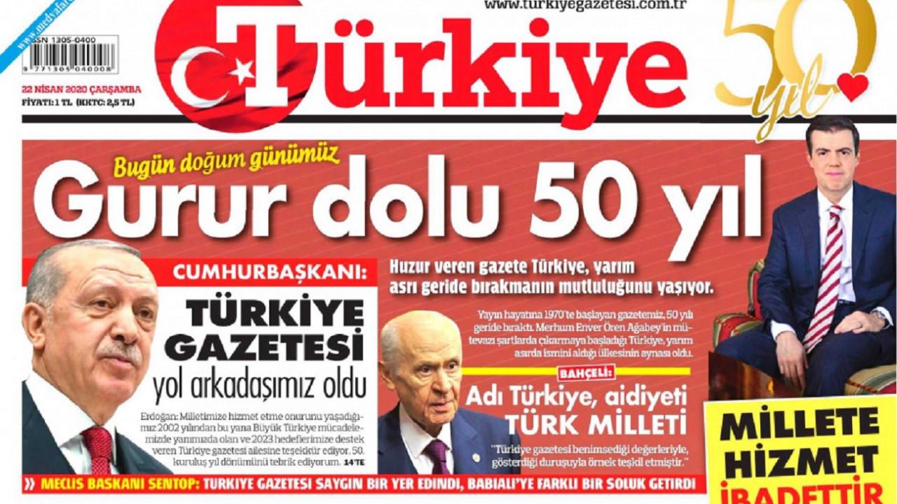 Erdoğan'dan Türkiye Gazetesi'ne 50. yıl mesajı