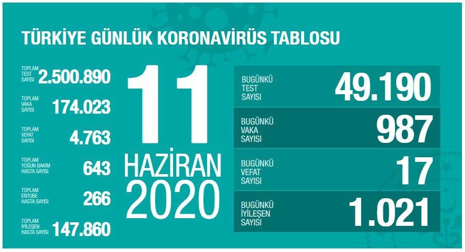 Türkiye'de koronavirüsten bugün 17 kişi öldü (11 Haziran Covid-19 tablosu)