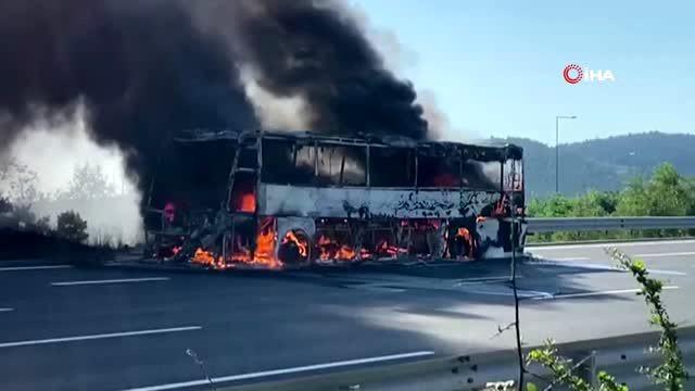 Son dakika: İstanbul'da yolcu otobüsünde yangın çıktı