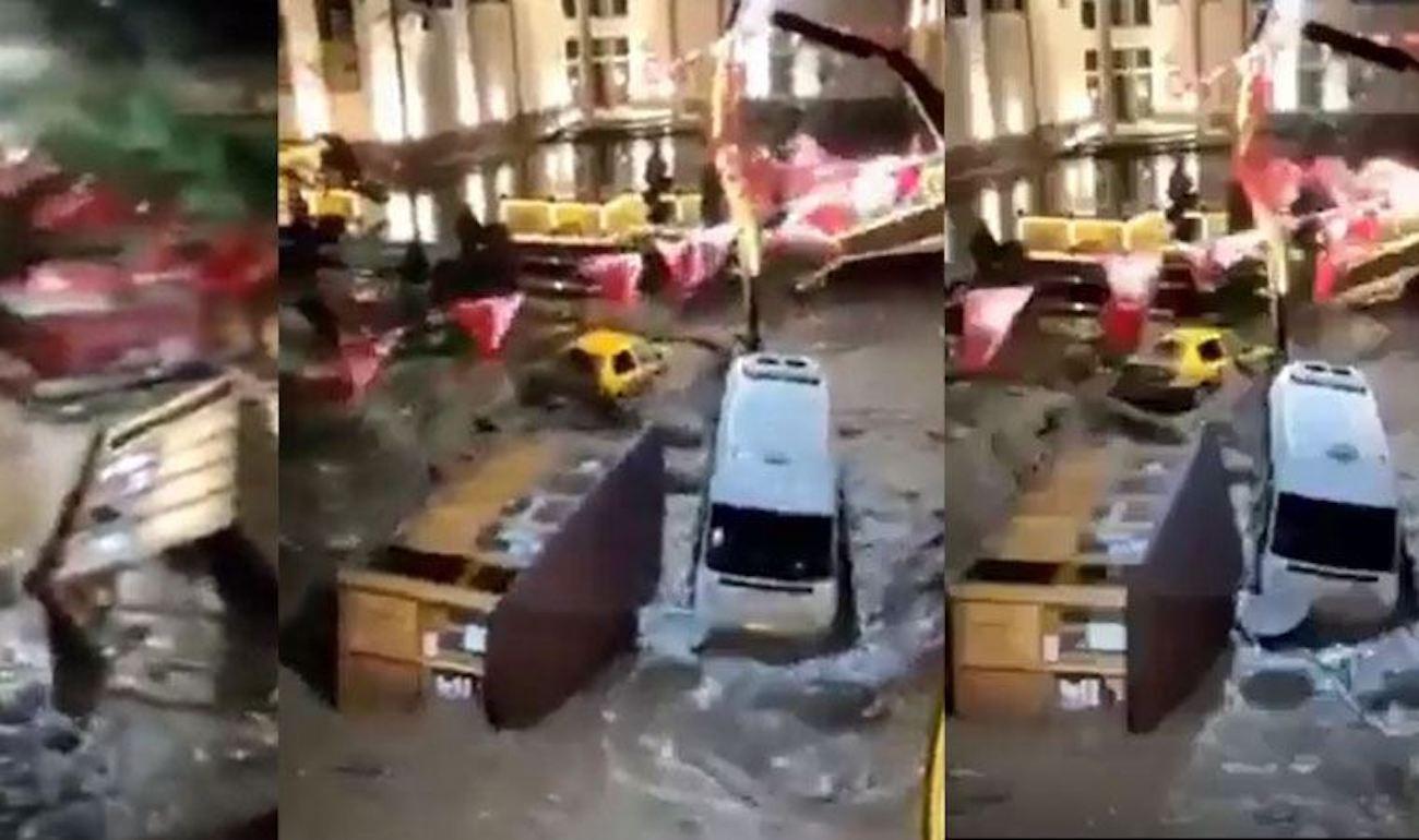 Giresun'da şok görüntüler: Minibüsler kamyonlar sele kapıldı